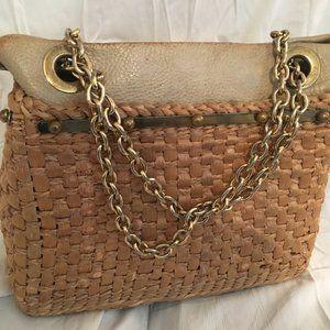 Vintage large straw and leather handbag